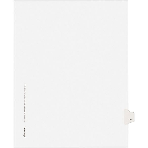 Avery-Style Legal Exhibit Side Tab Divider, Title: 46, Letter, White, 25/Pack