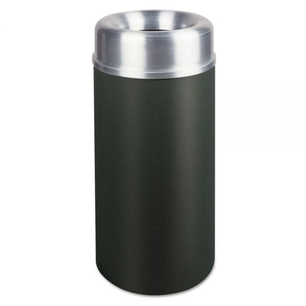 Rubbermaid Commercial Crowne Collection Open Top Receptacle, Round, Black, 15 gallon