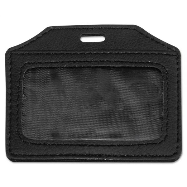 Advantus Leather-Look Horizontal Badge Holders