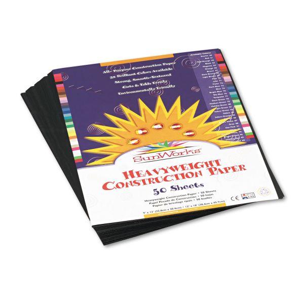 SunWorks Construction Paper, 58 lbs., 9 x 12, Black, 50 Sheets/Pack