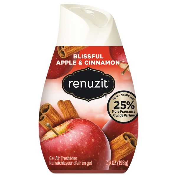 Renuzit Adjustables Air Freshener, Blissful Apples & Cinnamon, 7 oz Cone, 12/Carton