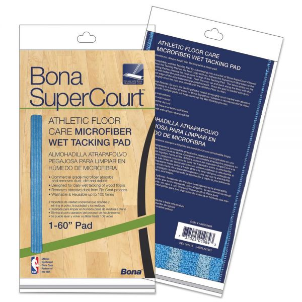 "Bona SuperCourt Athletic Floor Care Microfiber Wet Tacking Pad, 60"", Light/Dark Blue"