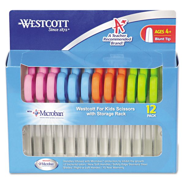 """Westcott Kids Scissors with Antimicrobial Protection, 5"""" Blunt, 12/Pack"""
