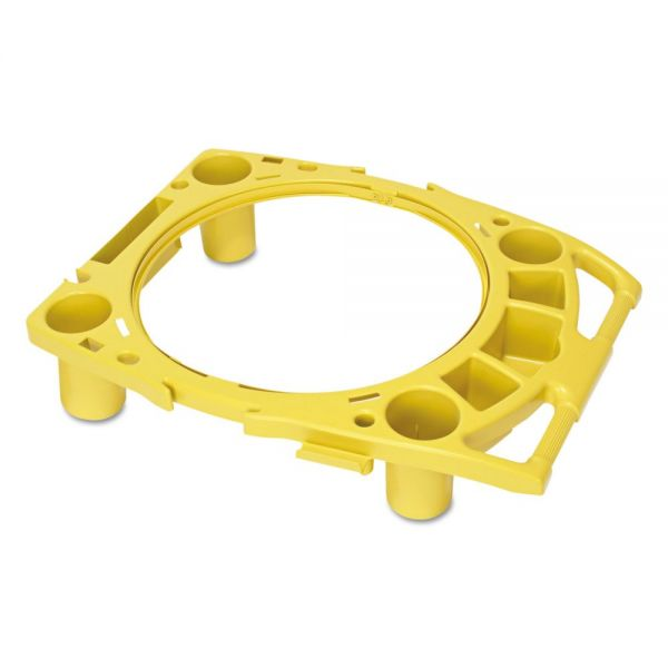 "Rubbermaid Commercial Standard Rim Caddy, 4-Comp, Fits 32 1/2"" dia Cans, 26 1/2w x 6 3/4h, Yellow"