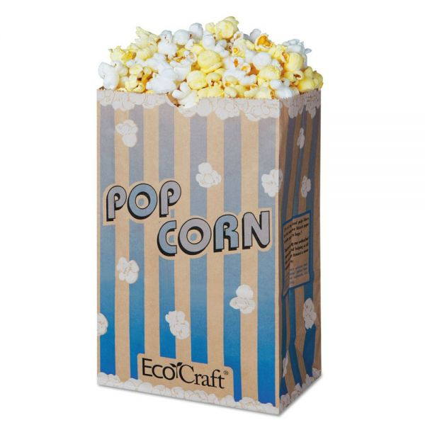 Bagcraft EcoCraft Grease-Resistant Popcorn Bag, 85 oz, Blue Stripe/Natural, 500/Carton