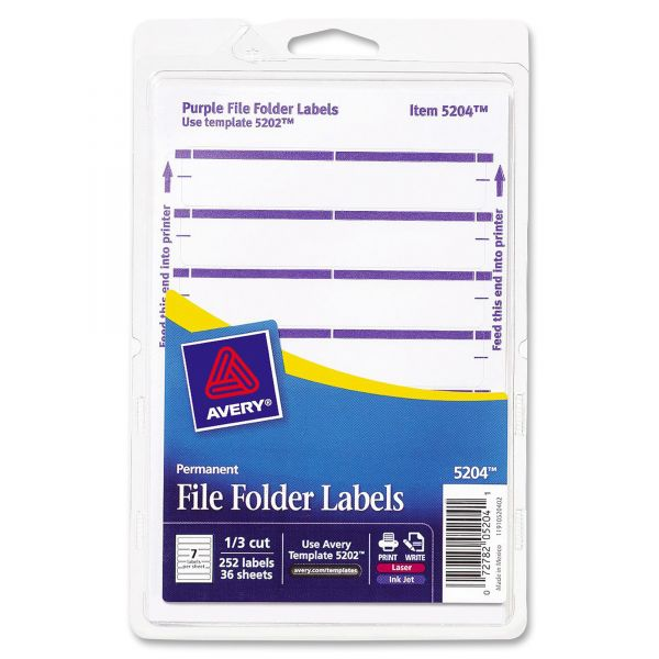 Avery Print or Write File Folder Labels, 11/16 x 3 7/16, White/Purple Bar, 252/Pack