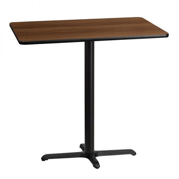 Flash Furniture 30'' x 42'' Rectangular Walnut Laminate Table Top with 22'' x 30'' Bar Height Table Base