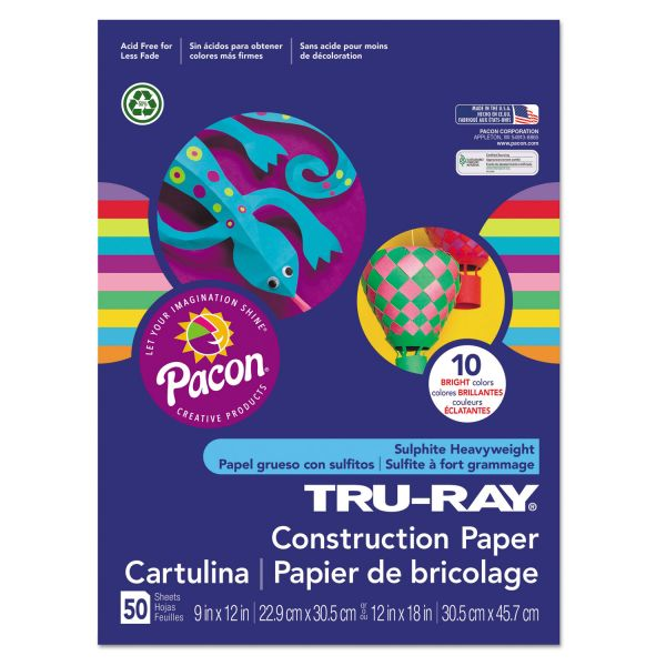 Pacon Tru-Ray Construction Paper, 76 lbs., 12 x 18, Bright Assortment, 50 Sheets/Pack