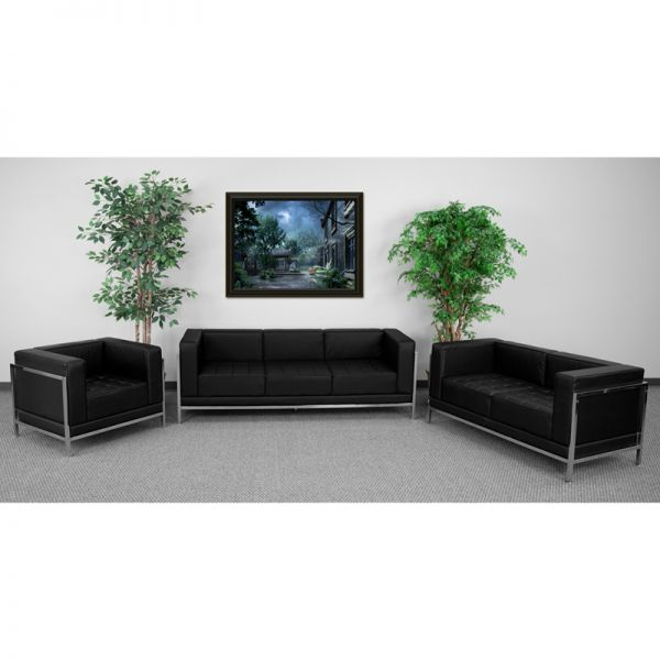 Flash Furniture HERCULES Imagination Series Black Leather 3 Piece Sofa Set