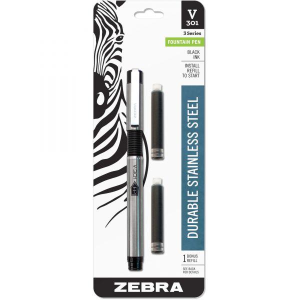 Zebra Pen V-301 Stainless Steel Fountain Pens