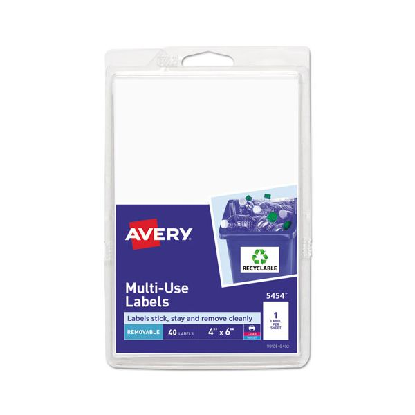 Avery Removable Multi-Use Labels, 6 x 4, White, 40/Pack