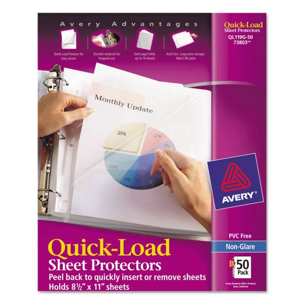 Avery Quick Top & Side Loading Sheet Protectors, Letter, Heavy Weight, Non-Glare, 50/Box