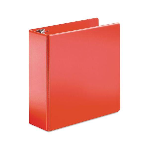 "Cardinal SuperStrength Locking 3-Ring Binder, 4"" Capacity, Slant-D Ring, Red"