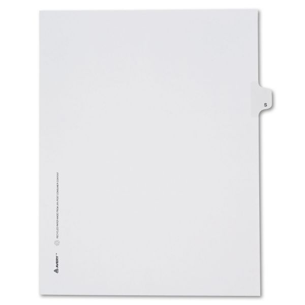 Avery Allstate-Style Legal Exhibit Side Tab Divider, Title: S, Letter, White, 25/Pack