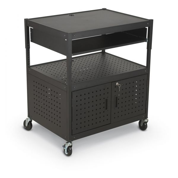 BALT Height-Adjustable FDB AV Cart, Steel, 32-1/4w x 24-1/4d x 31 to 39h, Black