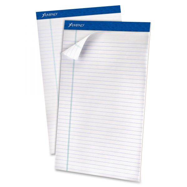 Ampad Recycled Writing Pads, Legal, White, 50 Sheets, Dozen