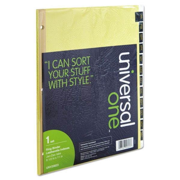Universal One Leather-Look Monthly Tab Index Dividers