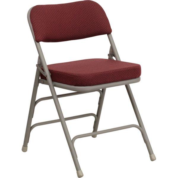 Flash Furniture HERCULES Series Premium Curved Triple Braced & Quad Hinged Burgundy Fabric Upholstered Metal Folding Chair [HA-MC320AF-BG-GG]