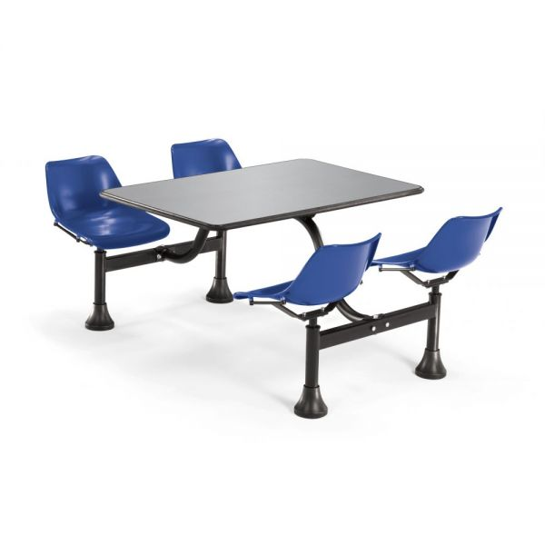 OFM OFM Cluster Table with 4 Attached Swivel Chairs and Stainless Steel Top, Navy