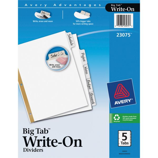 Avery Write & Erase Big Tab Paper Dividers, 5-Tab, White Tab, Letter, 1 Set