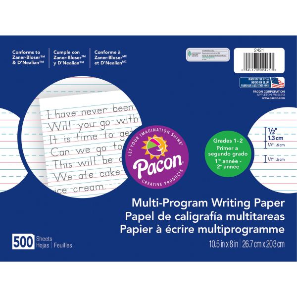 "Pacon Multi-Program Handwriting Paper, 1/2"" Long Rule, 10-1/2 x 8, White, 500 Shts/Pk"
