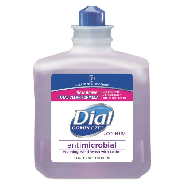 Dial Professional Antimicrobial Foaming Hand Wash, Cool Plum Scent, 1000mL Bottle, 4/Carton