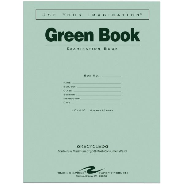 Roaring Spring Green Book Wide Ruled Examination Book