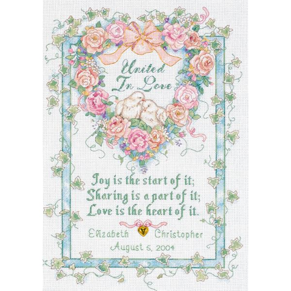 Dimensions United In Love Wedding Record Counted Cross Stitch Kit