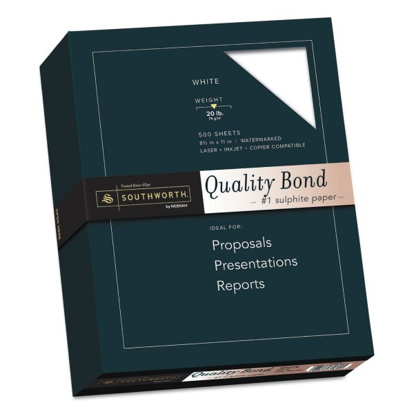 Southworth Quality Bond #1 Sulphite Paper, 20lb, 95 Bright, Wove, 8 1/2 x 11, 500 Sheets