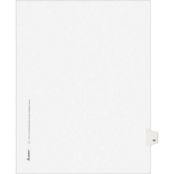 Avery Allstate-Style Legal Exhibit Side Tab Divider, Title: 46, Letter, White, 25/Pack