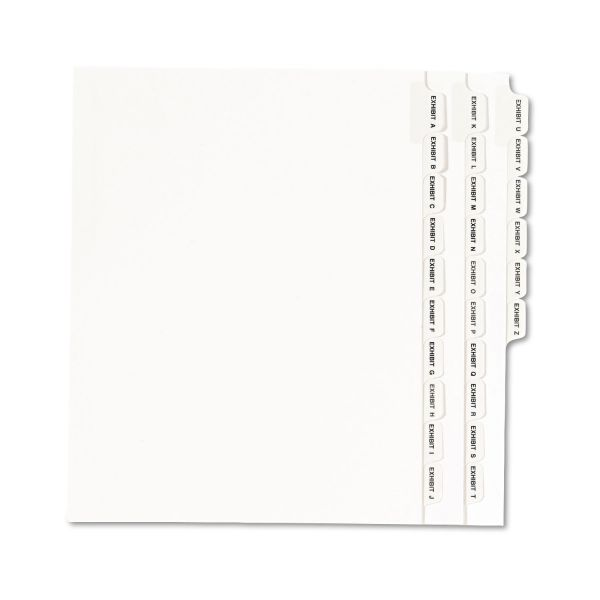 Avery-Style Legal Exhibit Side Tab Divider, Title: Exhibit A-Z, Letter, White