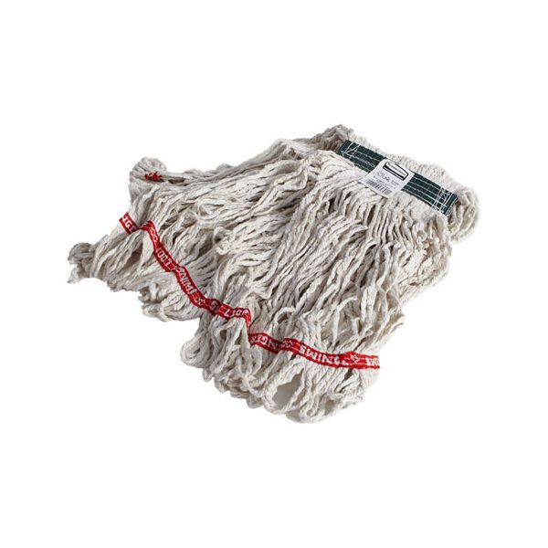 Rubbermaid Commercial Swinger Loop Wet Mop Heads, Cotton/Synthetic, White, Medium, 6/Carton