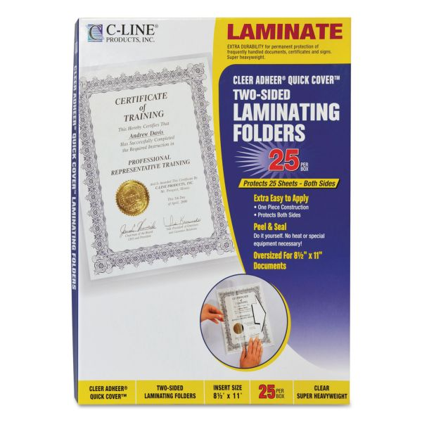 C-line Quick Cover Cleer Adheer Letter Size Laminating Pouches