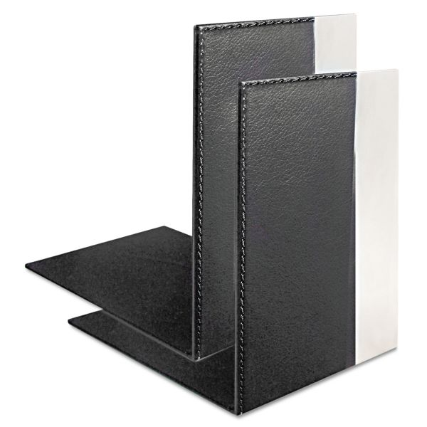 Artistic Architect Line Bookends, 6 3/4 x 6 3/4 x 5, Black/Silver