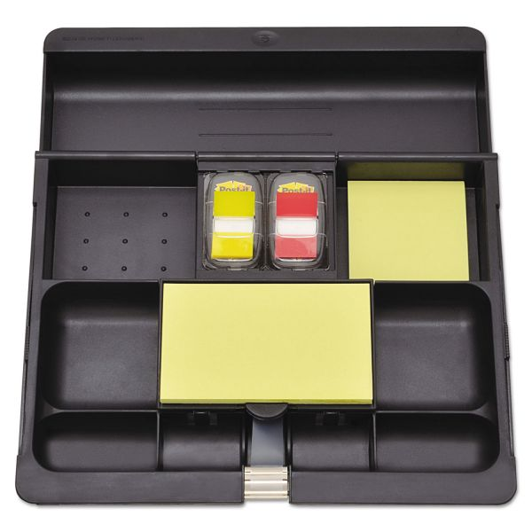 Post-it Recycled Plastic Desk Drawer Organizer Tray, Plastic, Black