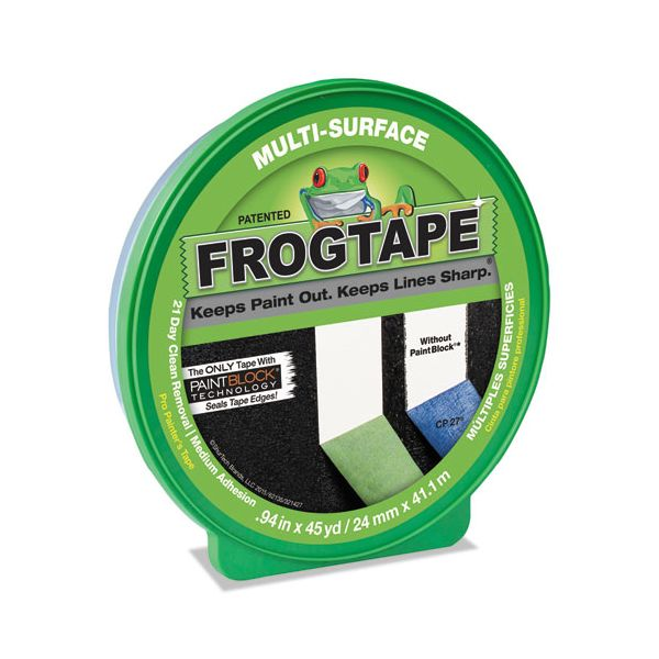 "Duck FROGTAPE Painting Tape, .94"" x 45yds, 3"" Core, Green"
