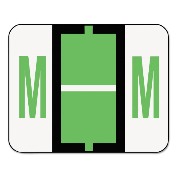 Smead A-Z Color-Coded Bar-Style End Tab Labels, Letter M, Light Green, 500/Roll