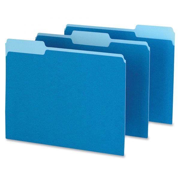 Pendaflex Colored File Folders, 1/3 Cut Top Tab, Letter, Blue/Light Blue, 100/Box