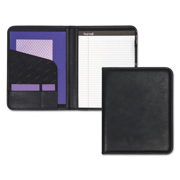 Samsill Professional Padfolio, Storage Pockets/Card Slots, Writing Pad, Black