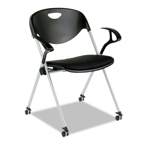 Alera Plus SL Series Stacking Chairs with Loop Arms and Casters