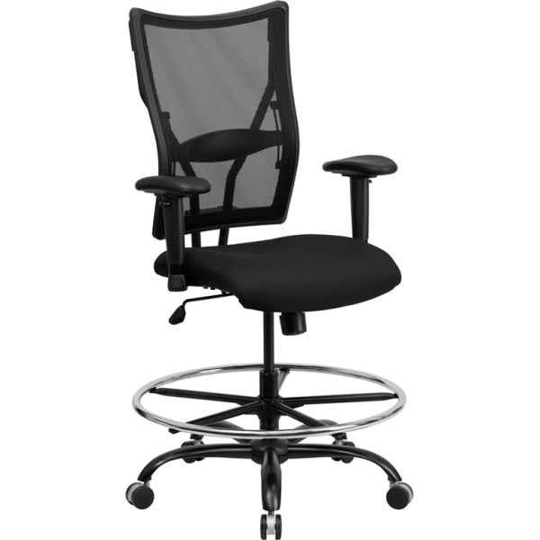 Flash Furniture HERCULES Series Big & Tall Mesh Drafting Chair with Height Adjustable Arms