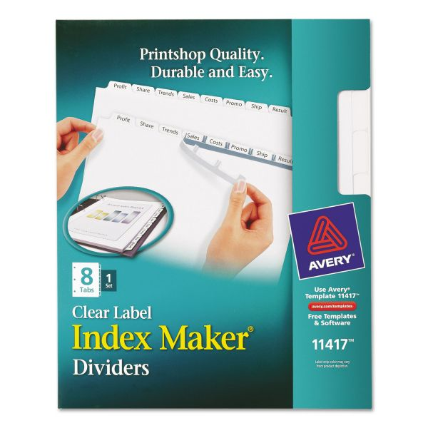 Avery Index Maker Print & Apply Clear Label Dividers, 8-Tab, White Tab, Letter, 1 Set