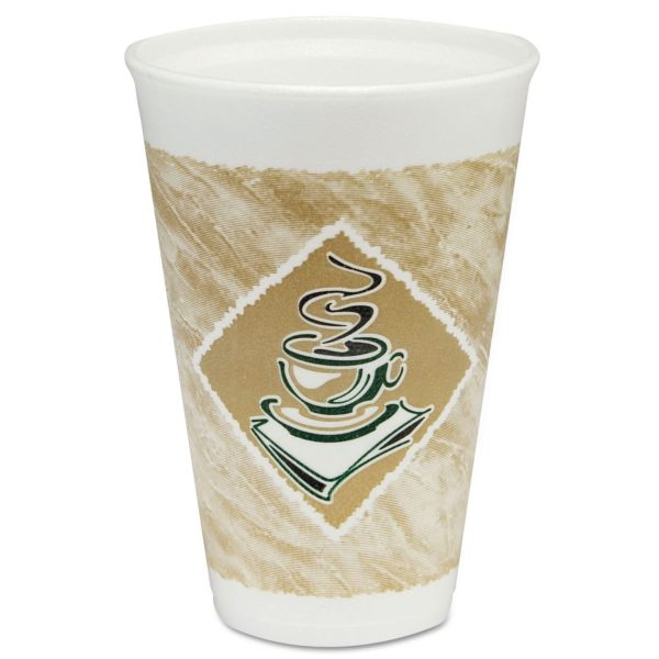 Dart Café G Foam Hot/Cold Cups, 16oz, White w/Brown & Green, 1000/Carton