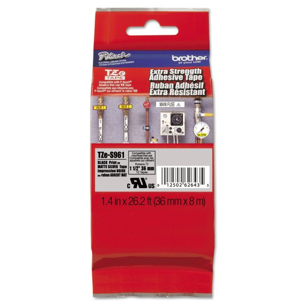 """Brother P-Touch TZ Extra-Strength Adhesive Laminated Labeling Tape 1-1/2""""w Black on Matte Silver"""