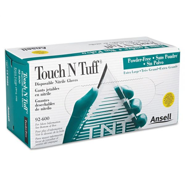 AnsellPro Touch N Tuff Nitrile Gloves, Teal, Size 9.5 10, 100/Box