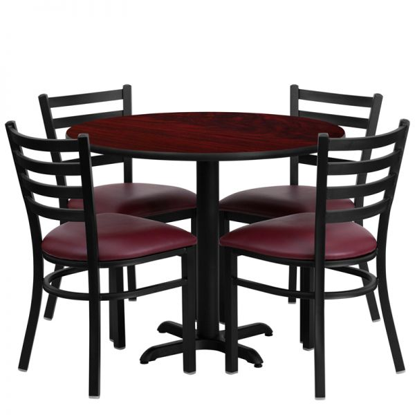 Flash Furniture 36'' Round Mahogany Laminate Table Set with 4 Ladder Back Metal Chairs - Burgundy Vinyl Seat