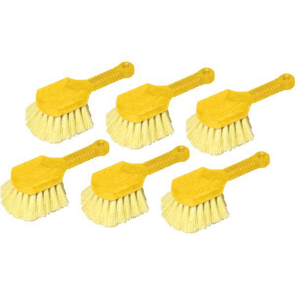 "Rubbermaid Commercial Long Handle Scrub, 8"" Plastic Handle, Gray Handle w/Yellow Bristles"