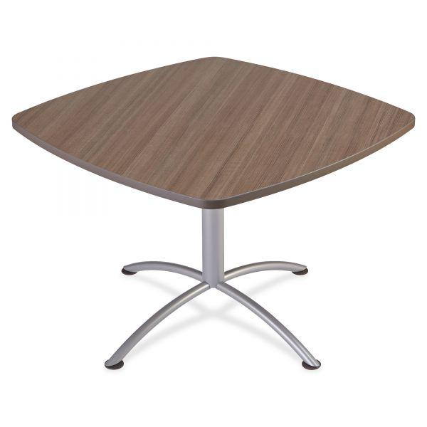 "Iceberg iLand Table, Contour, Square Seated Style, 42"" x 42"" x 29"", Natural Teak/Silver"