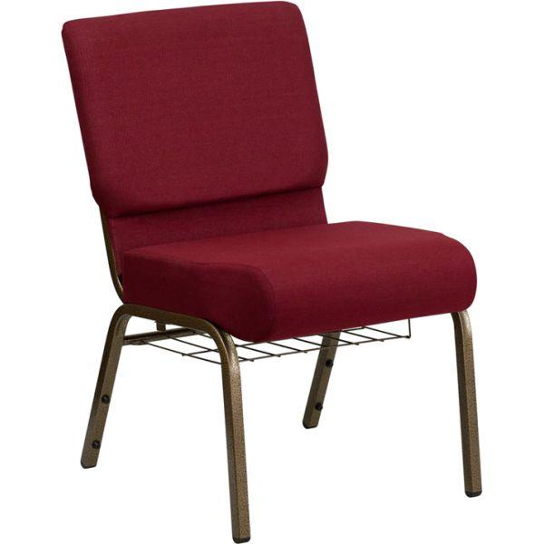 Flash Furniture Burgundy Fabric Big & Tall Church Chair