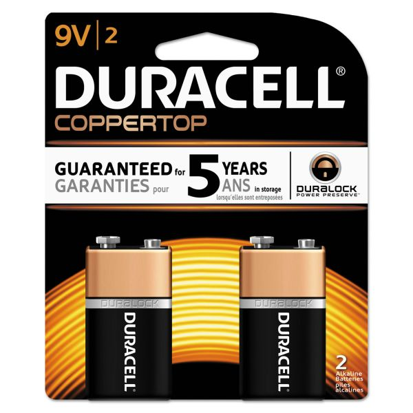 Duracell CopperTop Alkaline Batteries, 9V, 2/PK
